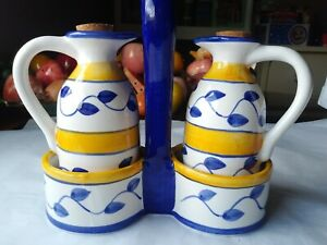 ACK Trading Vinegar and Oil Cruet Set White with Yellow Stripes and Blue Vines