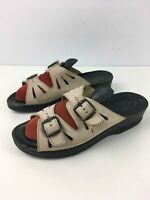 WOMENS FLY FLOT UK 5 EU 38 BEIGE LEATHER DOUBLE BUCKLE SLIP ON SANDALS SHOES