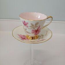 Vintage Old Royal Bone China Tea Cup & Saucer England Pink Flower & Interior