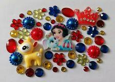 Joblot Flatback Disney Snow White Theme Cabochon Gem Pearls Blue Red Resin