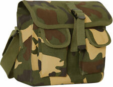 Woodland Camouflage 2 Pocket Canvas Military Ammo Carry Shoulder Bag