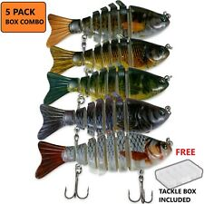 5pcs Bass Fishing Lure Swimbait Fish Bait Set Lot 10CM Multi Jointed Tackle Box