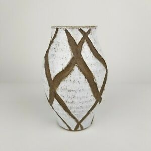 Mid Century Kabin Vase Pottery Stoneware White Blue Japan Ikebana Heavy 9in