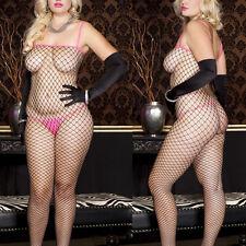Plus Black Fishnet Hot Pink Crotchless Bodystocking Bodysuit Shapewear Lingerie