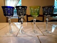 Lot of Four Cut to Clear Wine / Goblet Stemware Lime, Amethyst, Blue, Black 8 in