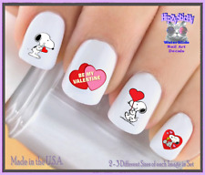 24 Nail Decals #7616 VALENTINES Be Mine Cupid Dog LOVE WaterSlide Nail Transfer