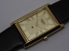 SEIKO QUARTZ MEN'S SUPER SLIM GOLD PLATED GOLDEN DIAL EXCELLENT WATCH RUN
