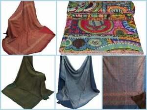Hand Vintage Throw Ajrak Kantha Stitch Ethnic Block Bohemian Bedspread Quilt