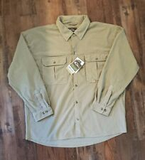 Drake Waterfowl Micro Fleece Ls Shirt L Desert Khaki Banded Hunt Mallard camp
