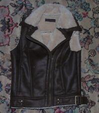 Miss Selfridge Brown Faux Sheepskin Zip Gilet - Biker - Size 6