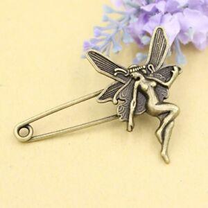 Retro Antique Bronze Fairy Safety Pin Corsage Wedding Suit Lapel Pins Brooch UK