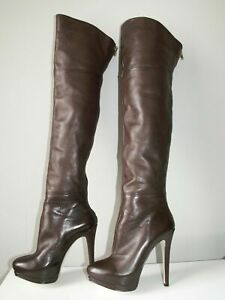 "*RARE* RIVER ISLAND 6"" High Heel Leather Overknee Knee Thigh Boots UK 5 38 7.5"