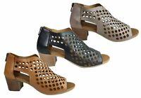 Brand New Orizonte Kadi Womens European Comfortable Leather Mid Heel Sandals