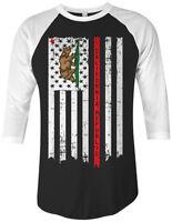 California State American Flag Unisex Raglan T-Shirt Republic Pride