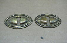 SET of 2 ANTIQUE OVAL BRASS KEYHOLE COVERS ESCUTCHEONS SHERATON HEPPLEWHITE - #3