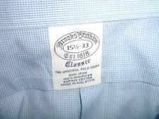 BROOKS BROTHERS blue cotton Dress Shirt 15.5 x 33