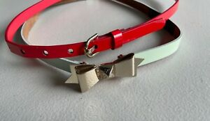 2 Ted Baker Leather Belts Red and Mint Green Patent Leather