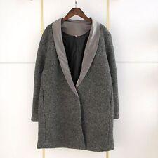 Women wool blend oversized winter coat outwear color grey size US XS-S new