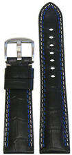 26mm Panatime Black Leather Watch Band w Gator Print For Panerai Radiomir