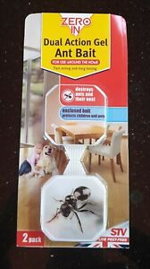 Zero In Dual Action Gel Ant Bait Killer Station Trap 2 Units Home use