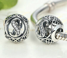 hot letters S European Silver CZ Charm Beads Fit sterling 925 Bracelet Chain #4
