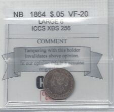**1864 Large 6**,New Brunswick Five Cent, Coin Mart Graded **VF-20**ICCS #XBS256