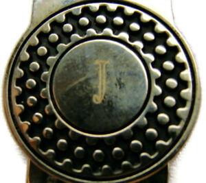 """J"" Monogram HInged Money Clip Wallet Credit Card Cash ID Holder SilverT Vintage"