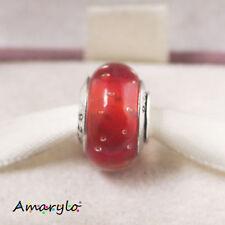 1 perle à bulles style Murano bracelet serpent européen Type Pandora - Rouge