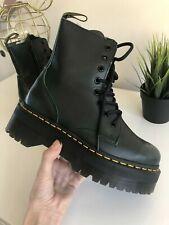Dr. Martens Jadon Black / Green Platform Boots Vintage Leather UK 4 EU 37 US 6