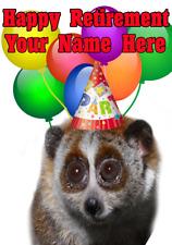 Lento Loris nnc118 Tarjeta de fiesta de jubilación feliz saludos Personalizados