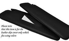 BLACK STITCH 2X SUN VISORS SKIN COVERS FITS PEUGEOT 206CC CONVERTIBLE 98-10