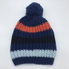 Toddler Boys Beanie Knitted Hat Striped 2T-5T Blue Orange Target Pom Pom