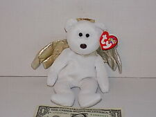 Ty Beanie Babies 2000 Halo II 2 Angel Bear Silver Wings & mint Tags Brown Nose