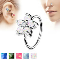 Opal CZ Flower Ear Helix Tragus Rook Snug Daith Hoop Nose Rings Piercing 20G