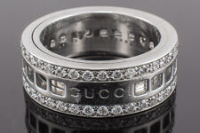 18K Gold Gucci Ring With Revolving Rolling Band Authentic White Gold