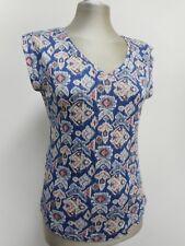 Magnifique neuf COMPTOIR DES COTONNIERS Haut Bleu & motifs 100% lin XS UK8/10