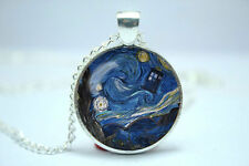 Doctor Who Tardis Blue  Box Starry Night Van Gogh inspired glass necklace