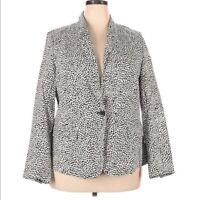 LANE BRYANT Black and White Print Blazer Jacket Women's Plus Size 20 EUC
