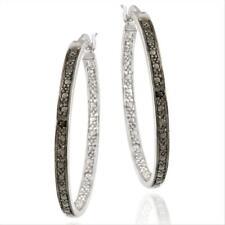 925 Silver Black Diamond Accent Hoop Earrings