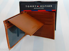 NEW Mens Tommy Hilfiger BiFold Leather WALLET Billfold & ID Valet Saddle Brown!