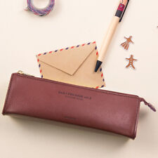 Simple Pencil Case Ballpoint Pen Holder Small ZIP Organizer Pen Bag Brown