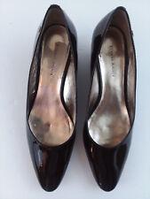 Etienne Aigner Dark Brown Patent Leather Pump  Wedge Shoes Size 7.5M Medium