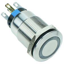 White LED Vandal Resistant illuminated 19mm Momentary Switch 12V