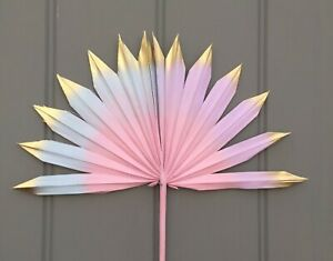 Small Pastel Gold CAKE TOPPER Dried Sun Spear Edged in gold Letterbox Palm /Fan