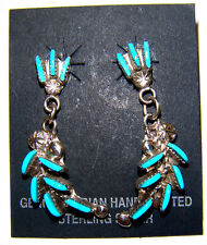 Zuni Cluster Earrings Sterling Silver with Turquoise Inlays