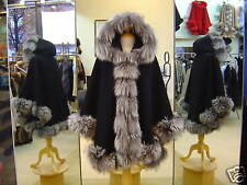 Black Cashmere Hooded Cape With Silver Fox Fur Trim Beautifully Canadian Label