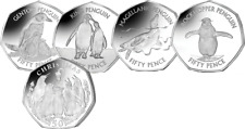 2017 Falkland Island 50p Circulating Penguin Set. Only 950 Issued.