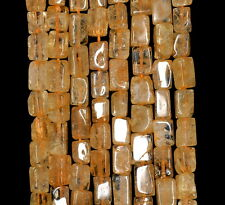 7X5-10X5MM HONEY CITRINE GEMSTONE YELLOW RECTANGLE TUBE LOOSE BEADS 15""