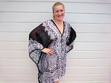 Black Kaftan Top Plus Size Silk Beach Coverup Paisley Stylish Resort Cruise wear