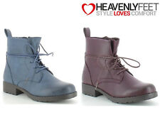 Ladies Ankle Lace-Up Boots Fashion Wam Winter Comfy Heavenly Feet 'Strut2'